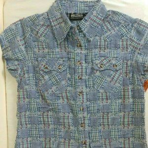 Outback Women S Quilted Look Blue Western Shirt